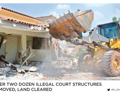 Over two dozen illegal court structures removed, land cleared