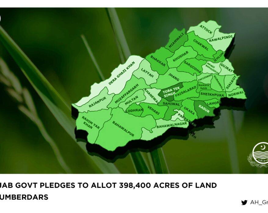 Punjab Govt pledges to allot 398,400 acres of land to lumberdars
